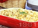Рецепта Салата от макарони / паста с грах, пилешки хапки от гърди, майонеза и горчица